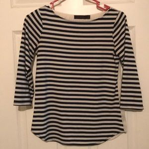 Striped shirt with silk type back